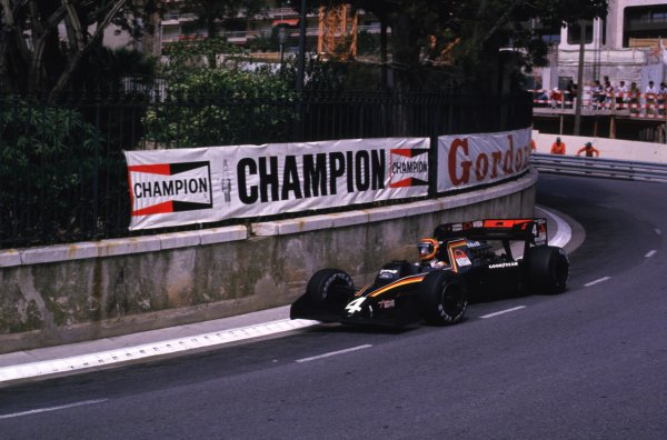 1984 Monaco Grand Prix, Monte Carlo, Monaco.31/5-3/6 1984.Stefan Bellof (Tyrrell 012 Ford) 3rd position. He would lose his position at the end of the season, after the Tyrrell team was disqualified from the World Championship due to fuel irregularities.World Copyright- LAT Photographic