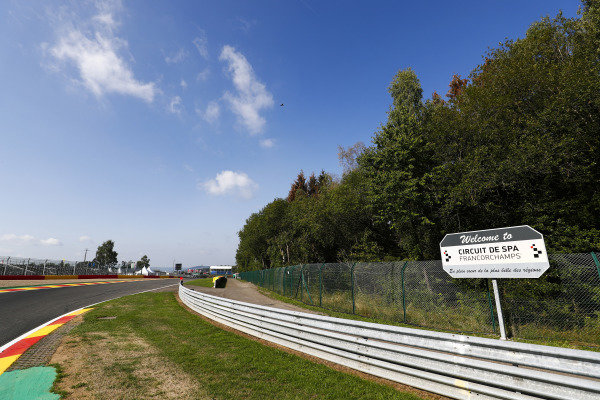 A Spa-Francorchamps sign at Les Combes.