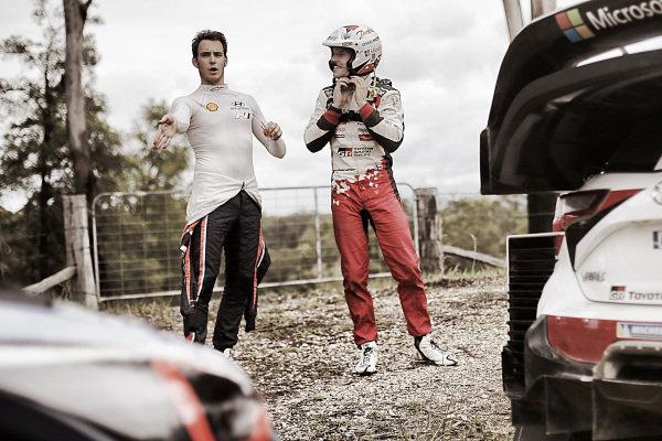 Thierry Neuville (BEL), Hyundai Motorsport WRC and Jari-Matti Latvala (FIN), Toyota Gazoo Racing WRC at World Rally Championship, Rd13, Rally Australia, Day Two, Coffs Harbour, New South Wales, Australia, 18 November 2017.