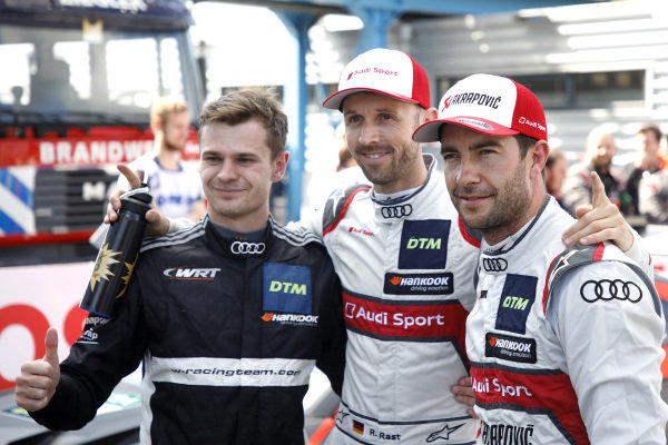 Top 3 after Qualifying, Pole sitter René Rast, Audi Sport Team Rosberg, Jonathan Aberdein, Audi Sport Team WRT, Mike Rockenfeller, Audi Sport Team Phoenix .