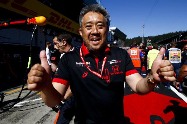 Masashi Yamamoto, General Manager, Honda Motorsport celebrates a Honda victory