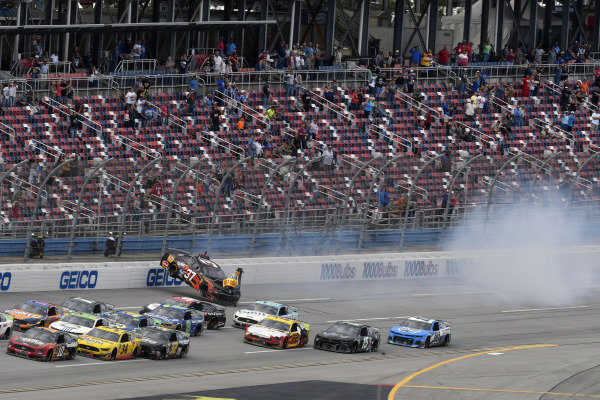 #37: Chris Buescher, JTG Daugherty Racing, Chevrolet Camaro Louisiana Hot Sauce flips