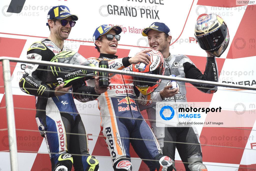 Podium: race winner Marc Marquez, Repsol Honda Team, second place Cal Crutchlow, Team LCR Honda, third place Jack Miller, Pramac Racing