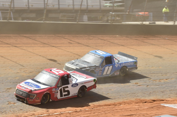 #15: Tanner Gray, Team DGR, Ford F-150 Ford Performance, #11: Bubba Wallace, Spencer Davis Racing, Toyota Tundra Columbia Outdoor Clothing